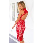 Alluring Stand Neck Cut-Out Back Women's Midi Lace Dress for sale