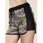 cheap Trendy High-Waisted Camo Print Spliced Women's Shorts