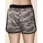 Trendy High-Waisted Camo Print Spliced Women's Shorts for sale