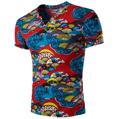 Casual Short Sleeves Fan Printed T-Shirt For Men