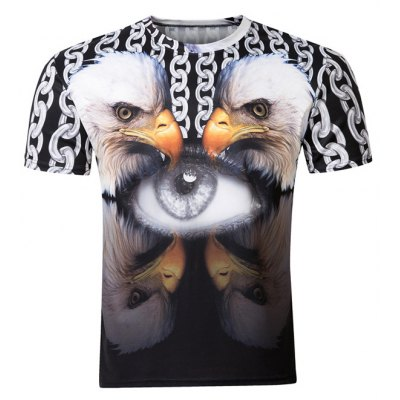 Pullover Round Collar 3D Bird Printed T-Shirt For Men