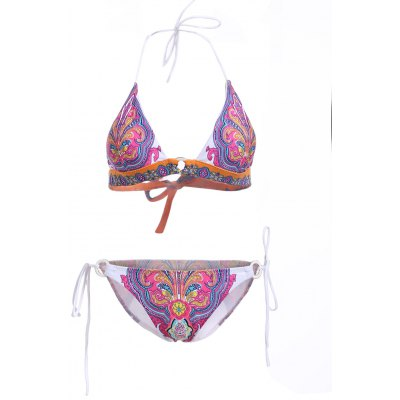 Elegant Halter Neck Tribal Print Bikini Set For Women