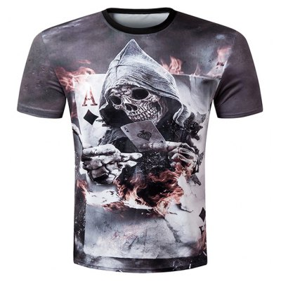 Casual Pullover Round Collar 3D Skull Printed T-Shirt For Men