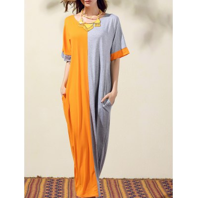Round Neck Bat-Wing Sleeve Loose Color Block Dress