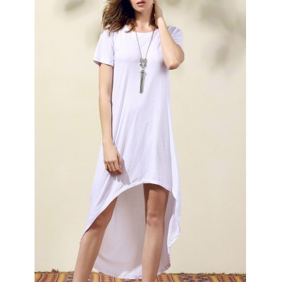 Round Neck Short Sleeve White High Low Dress