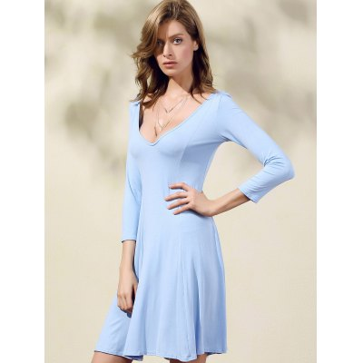 Casual Double-V 3/4 Sleeve Flared Women's Dress