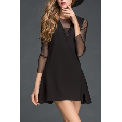 Sheer Sleeve A Line Dress