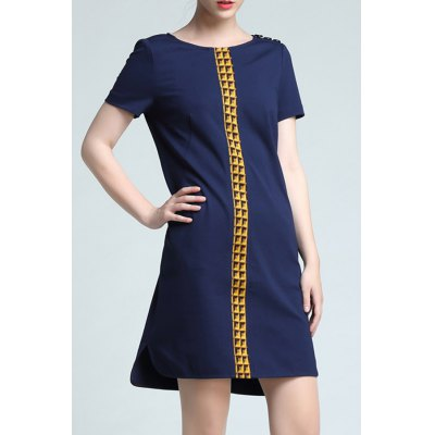 Round Collar Color Block Loose Dress