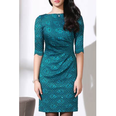Salsh Neck Bodycon Floral Pattern Dress