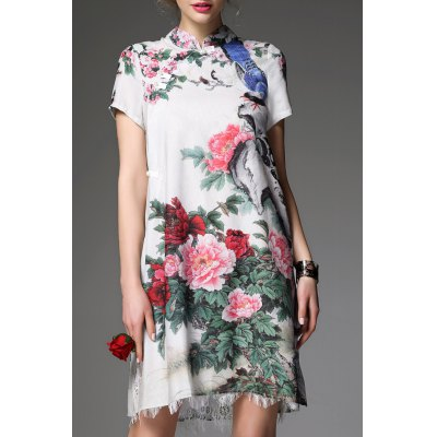 Mandarin Collar Floral Cheongsam Dress
