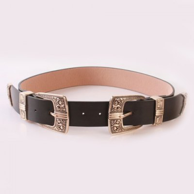 Chic Retro Carve Double Pin Buckles Casual PU Wide Belt For Women