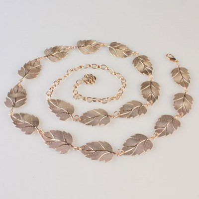 Chic Casual Bionic Leaves Shape Golden Waist Chain For Women
