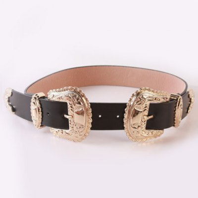 Baroque Style Double Pin Buckles Casual PU Wide Belt For Women