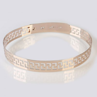 Chic Hollow Out Retro Palace Style Carve Alloy Waistband For Women