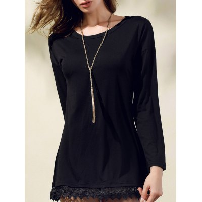 Stylish Round Collar 3/4 Sleeve Black Lacework Splicing Dress For Women