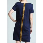 cheap Round Collar Color Block Loose Dress