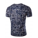cheap Casual V Neck Abstract Printing Short Sleeves T-Shirt For Men
