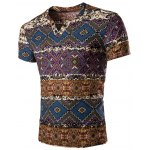 Fashion V Neck Abstract Printing Short Sleeves T-Shirt For Men