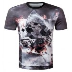 Casual Pullover Round Collar 3D Skull Printed T-Shirt For Men 11027