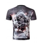 cheap Casual Pullover Round Collar 3D Skull Printed T-Shirt For Men
