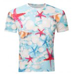 Casual Pullover Round Collar 3D Starfish Printed T-Shirt For Men