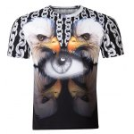 Casual Pullover Round Collar 3D Bird Printed T-Shirt For Men