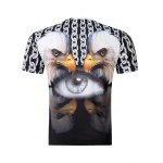 cheap Casual Pullover Round Collar 3D Bird Printed T-Shirt For Men