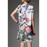 cheap Mandarin Collar Floral Cheongsam Dress