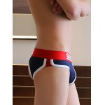 cheap Color Block Spliced Letter Print Back Hollow U Pouch Design Boxer Brief For Men