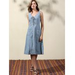Casual Double-V Lace Up Women's Denim Dress photo