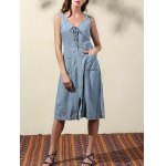 Casual Double-V Lace Up Women's Denim Dress
