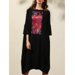 Ethnic Style 3/4 Sleeve Round Neck Retro Print Straight Dress For Women
