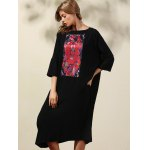 cheap Ethnic Style 3/4 Sleeve Round Neck Retro Print Straight Dress For Women
