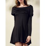 Stylish Boat Neck Long Sleeve Black Off The Shoulder Women's Dress