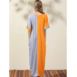 Stylish Round Neck Bat-Wing Sleeve Loose Color Block Women's Dress for sale