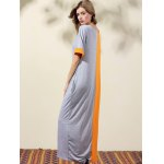Stylish Round Neck Bat-Wing Sleeve Loose Color Block Women's Dress deal