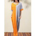 Stylish Round Neck Bat-Wing Sleeve Loose Color Block Women's Dress