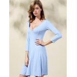 Casual Double-V 3/4 Sleeve Flared Women's Dress deal