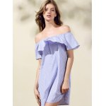 Sweet Off-The-Shoulder Striped Women's Ruffle Dress for sale