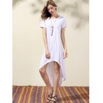 cheap Stylish Round Neck Short Sleeve White High Low Women's Dress