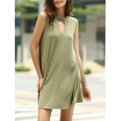 Keyhole Neckline Sleeveless Solid Color Dress For Women