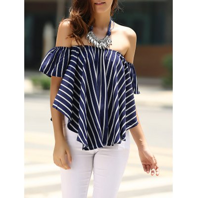 Off-The-Shoulder Striped T-Shirt For Women
