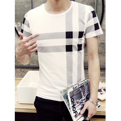 Stylish Men's Round Neck Checked Pattern Short Sleeve T-Shirt