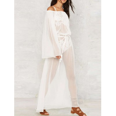 Off The Shoulder Waisted Cover Up DressMaxi Dresses<br>Off The Shoulder Waisted Cover Up Dress<br><br>Style: Casual<br>Occasion: Beach<br>Material: Polyester<br>Silhouette: A-Line<br>Dresses Length: Ankle-Length<br>Neckline: Off The Shoulder<br>Sleeve Length: Long Sleeves<br>Pattern Type: Solid<br>With Belt: No<br>Season: Fall,Spring,Summer<br>Weight: 0.270kg<br>Package Contents: 1 x Dress