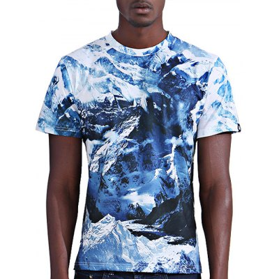 Abstract 3D Iceberg Print Round Neck Short Sleeves T-Shirt For Men