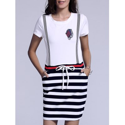 Casual Jewel Neck Striped Drawstring Short Sleeves Dress For Women