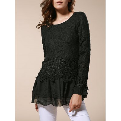 Sweet Scoop Neck Lace Splicing Long Sleeve Women's T-Shirt