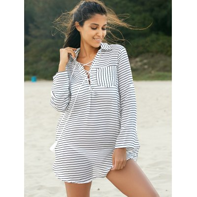 Stylish Shirt Collar Long Sleeve Striped Loose Women's Dress