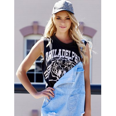 Plus Size Scoop Neck Tiger and Letter Print Cotton Women's Crop Top Tank Top