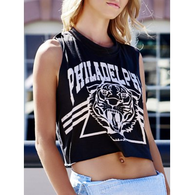 Plus Size Tiger and Letter Print Cotton Tank Top